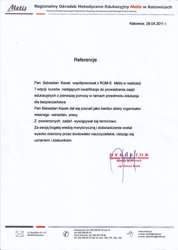 List referencyjny Regionalnego Ośrodka Metodyczno-Edukacyjnego Metis w Katowicach