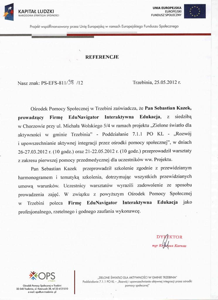 List referencyjny Ośrodka Pomocy Społecznej w Trzebini