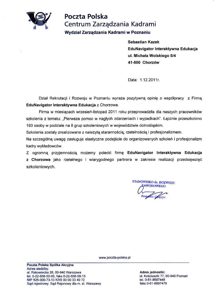 List referencyjny Poczty Polskiej